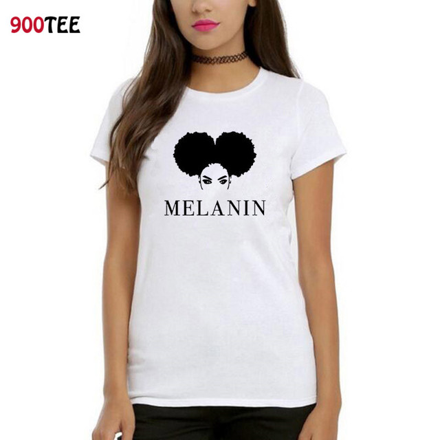 Melanin Graphic Printed T Shirt Women Short Sleeve O Neck Funny Loose Fit Women Tshirt Hipster Summer Tee Shirt Cotton Tops