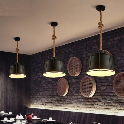 Industrial Loft Style Hemp Rope Iron Droplight Edison Vintage Pendant Light Fixtures For Dining Room Hanging Lamp Home Lighting loft style wooden cask hemp rope droplight edison vintage pendant light fixtures for dining room hanging lamp indoor lighting