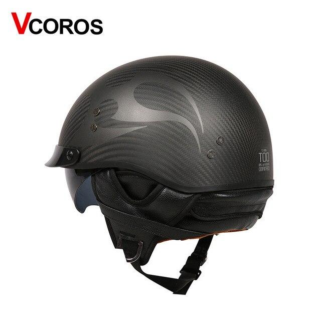 VCOROS Brand Retro Carbon Fiber Open Face Motorcycle Helmet Vintage Motorbike Helmet Cruise casco moto Scooter Man Helmet DOT