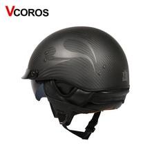 VCOROS Brand carbon fiber open face motorcycle Helmet Vintage motorbike helmet cruise half moto DOT Approved
