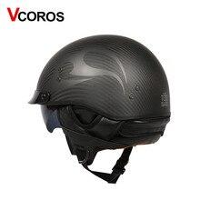 Vcoros capacete retrô de fibra de carbono, capacete retrô vintage para moto e scooter, para moto ponto ponto