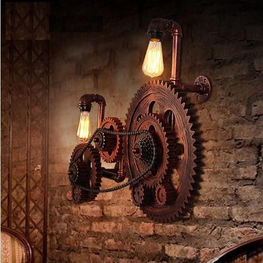 Loft style industrial creative wood gear vintage wall for Deco murale style industriel