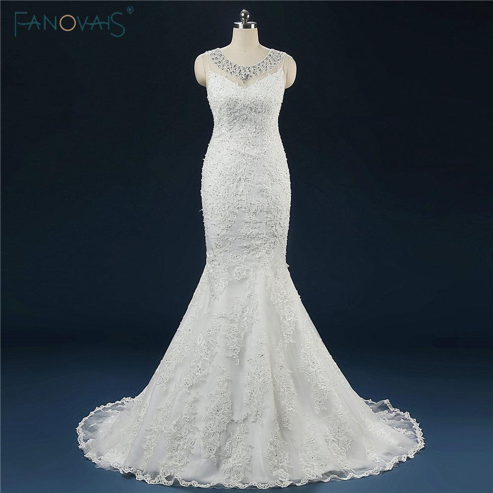 Skräddarsydda Nyaste Sheer Beaded Scoop Neck Pearls Applique Backless Mermaid Bröllopsklänningar 2017 Court Train Robe de Mariage
