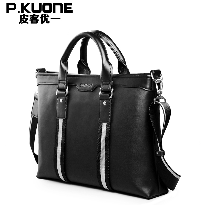 P.KUONE Famous Luxury Brand Handbag Genuine Leather Shoulder Bag 2018 Designer Men Laptop Bags Travel Business Briefcase For Men