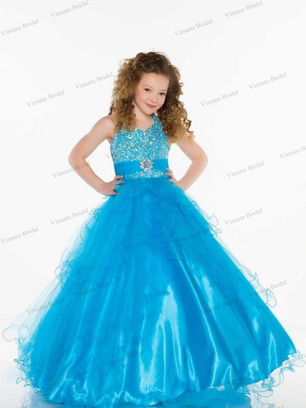 2015 Free Shipping Kids Dresses For Little Girls Crystal Tiered ...