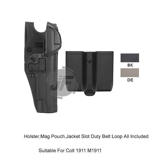 Tactique Serpa niveau 3 Auto Lock à droite taille pistolet Holster w/veste fente devoir ceinture boucle et pochette magnétique pour Colt 1911 M1911