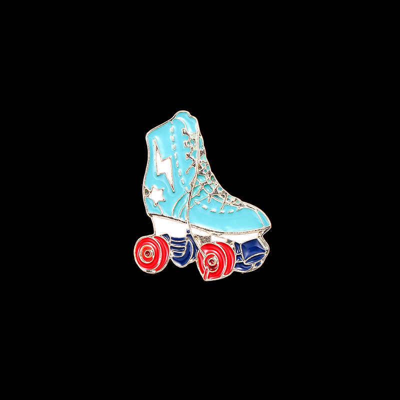 Kartun Roller Sepatu Sepatu Bros untuk Anak Laki-laki Anak Perempuan Kerah Pin Bros Pin Tombol Menghias Ransel Topi Kain Aksesoris