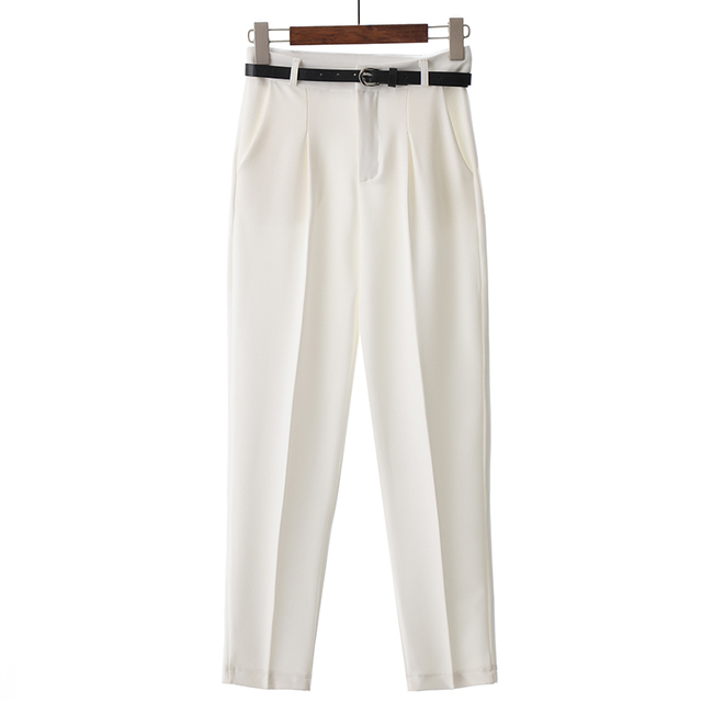 BGTEEVER OL Style White Women Pants Casual Sashes Pencil Pant High Waist Elegant Work Trousers Female Casual pantalon femme 4