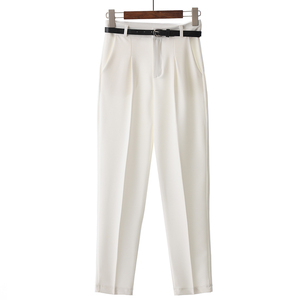 Image 4 - BGTEEVER OL Style White Women Pants Casual Sashes Pencil Pant High Waist Elegant Work Trousers Female Casual pantalon femme