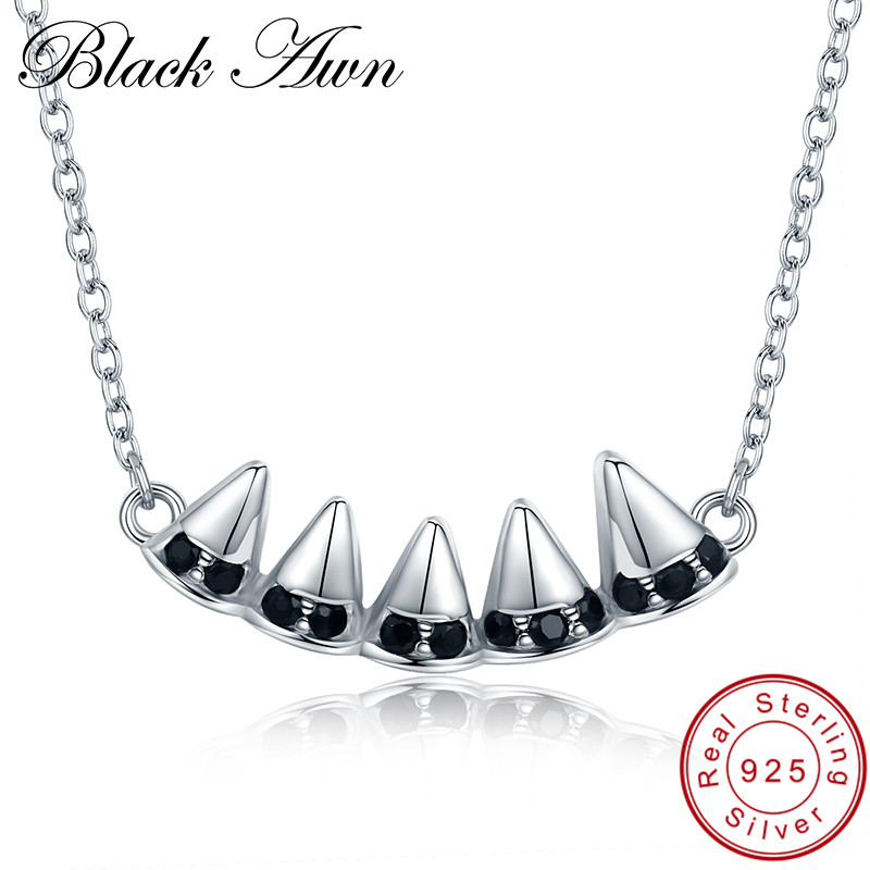 [BLACK AWN] Classic Band 925 Sterling Silver Fine Jewelry Trendy Engagement Necklaces for Women Wedding Pendants P134