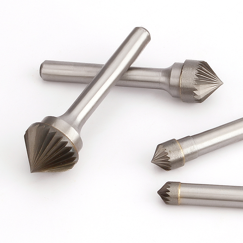 90 Degree Conical Alloy Hard Metal Grinding Head 1pcs Wood Carving Tungsten Steel Rotary Boring Cutter K-type File Boring Tool