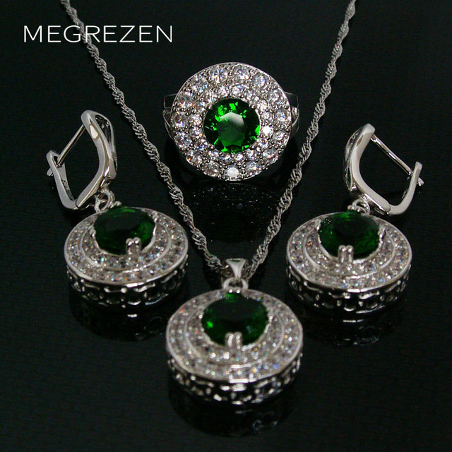 Cubic Zirconia Jewelry Sets Green Blue Necklace Female Earrings And Silver Rings With Stones Set Collares De Cristal Ys002-5