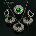 Vermeil Cz Diamond Jewelry Sets Green Blue Necklace Female Earrings And Silver Rings With Stones Set Collares De Cristal Ys002-5
