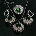 Vermeil Joyas de Diamantes Cz Sets Azul Verde Collar de Las Mujeres Pendientes Y Anillos de Plata Con Piedras Collares De Cristal Ys002-5