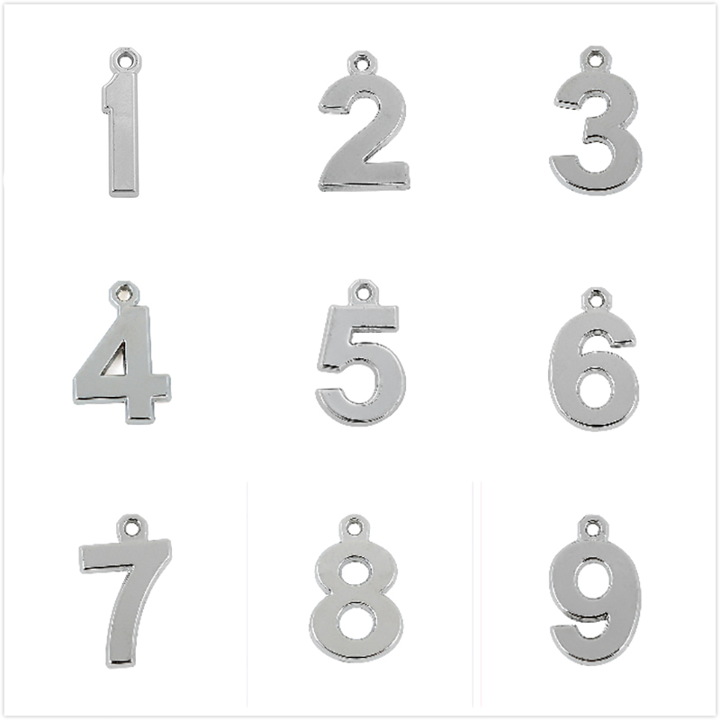 Teamer Birthday Date Lucky Number Charm DIY Sliver Color Date Pendant Fit Handmade Necklace Jewelry Making 0 1 2 3 4 5 6 7 8 9 image