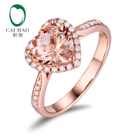 Caimao Jewelry 14K Rose Gold 1.68ct Natural Morganite & 0.20ct Diamonds Engagement Classic Ring