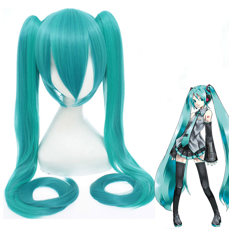 High Quality VOCALOID Cosplay Wig Hatsune Miku Costume Play Wigs Halloween party Anime Hair miku gradient GREEN wig with wig cap