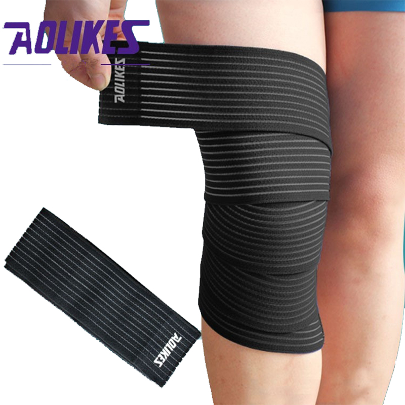 1Pair 180*7.5cm Elastic Bandage Tape Sport Knee Support Strap Knee Pads Protector Band Ankle Leg Wrist Wrap HBK053