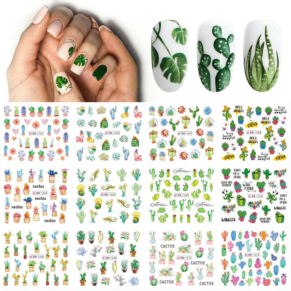 12 Designs Summer Nail Water Transfer Stickers Cactus Flamingo Heart Leaf Tattoo Decals Nail Art Decoration Slider 1