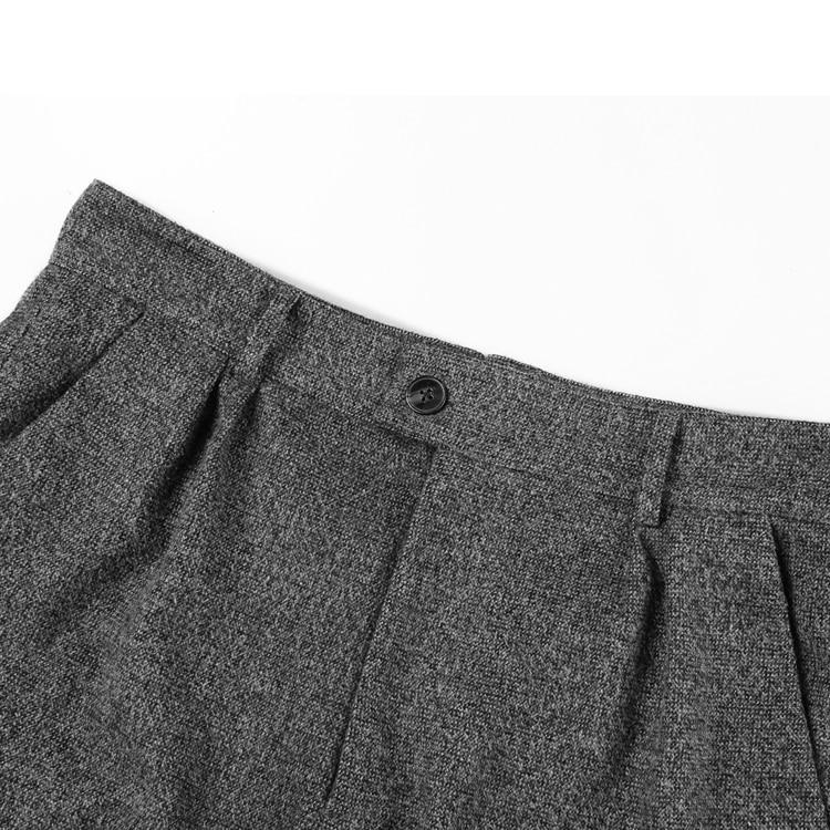 Image 5 - Men British Style Grey Casual Pockets Slim Fit Woolen Brand Suit  Pants Metrosexual Men Zipper Top Quality Straight Trousers K928Cargo  Pants