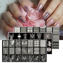 MAFANAILS – plaque d'estampage pour ongles, 40 motifs géométriques, fleur en dentelle, Image de noël, 6.5x12.5cm