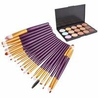 Free Shipping 15 Colors Contour Face Cream Makeup Concealer Palette 20Pcs Brushes Set T2N2