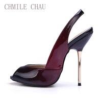 CHMILE CHAU Gradient Colors Patent Sexy Women Dress Party Pumps Peep Toe Stiletto Iron High Heel Slingback Ladies Shoes 3845 g13