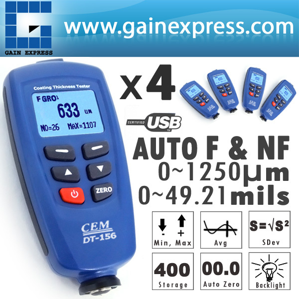 цена на 4 pieces x Paint Coating DT-156 Digital Thickness Gauge Meter Tester 0~1250um + Auto F & NF Probe + USB Cable + CD software