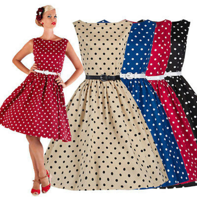 8035322b85 New Women Dress Swing Vintage Retro Housewife Pinup Rockabilly Evening  Party Dress