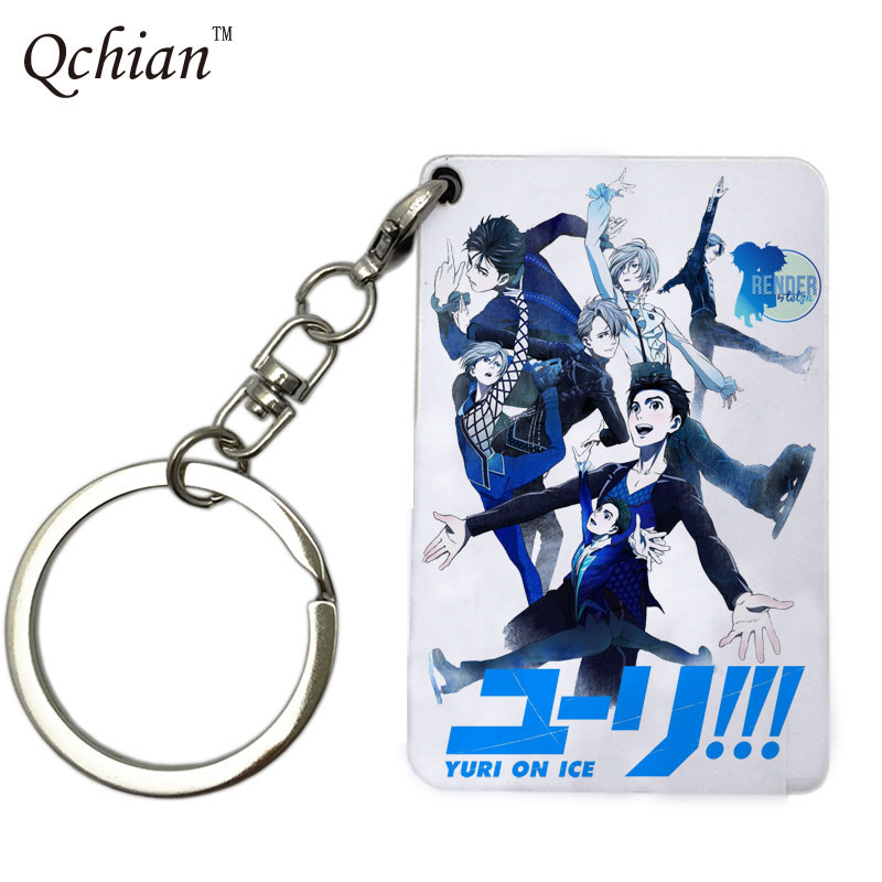 Anime YURI ON ICE Keychain Key chain Holder for Cars Bags Pendants Victor Nikiforov Yuri Katsuki Pendant Charm Keyring