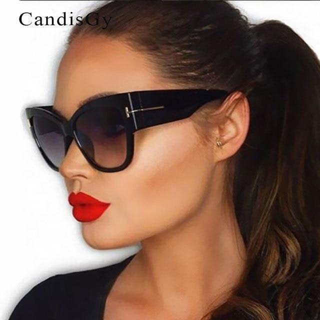 154641fe39a New Fashion Cat Eye Big Large Oversized Sunglasses Women Brand Designer  Vintage Street Snap Sun Glasses Oculos De Sol Feminino