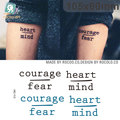 Body Art Temporary Tattoo Stickers Courage Fear Heart Mind Letters Design Water Transfer Tattoo Harajuku Fake Tattoo