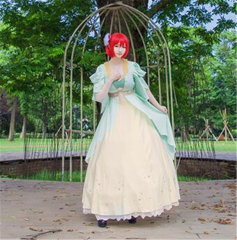 Snow pincess with the Red Hair princess cosplay costume dress Free Shipping