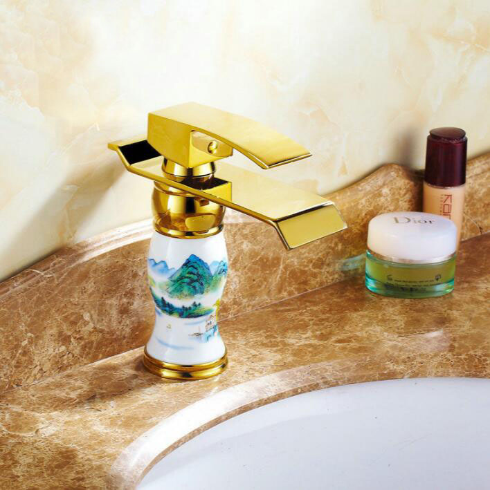 New Arrival Deck mounted brass and Blue and white porcelain waterfall faucet Bathroom Basin faucet Gold Sink Faucet Bath tap