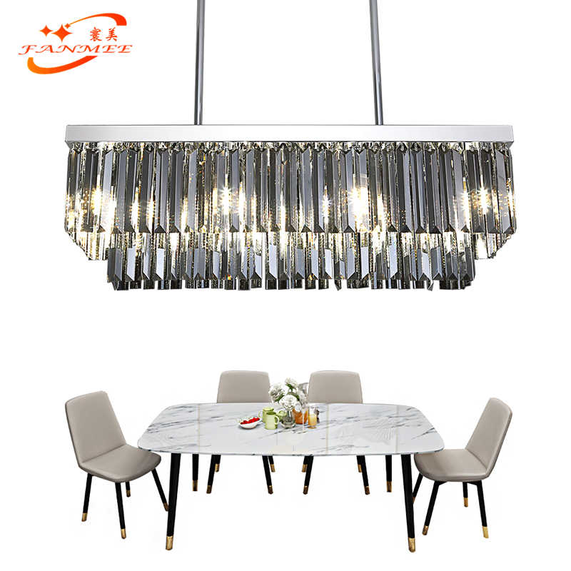 Modern Odeon Crystal Chandelier Lighting Retro Nordic LED Chandelier Hanging Light Smoky Grey K9 Crystal Prism Chandelier Lamp