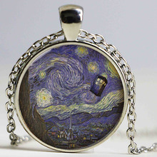 HK-004 Wholesale Glass Dome Doctor Who Necklace. Tardis Van Gogh Dr who art pendant jewelry HZ1