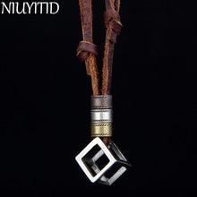 NIUYITID натуральная кожа Для мужчин ожерелья, подвески панк-Винтаж регулируемый коричневый веревку цепи мужской ювелирные изделия Для мужчин s Jewellery