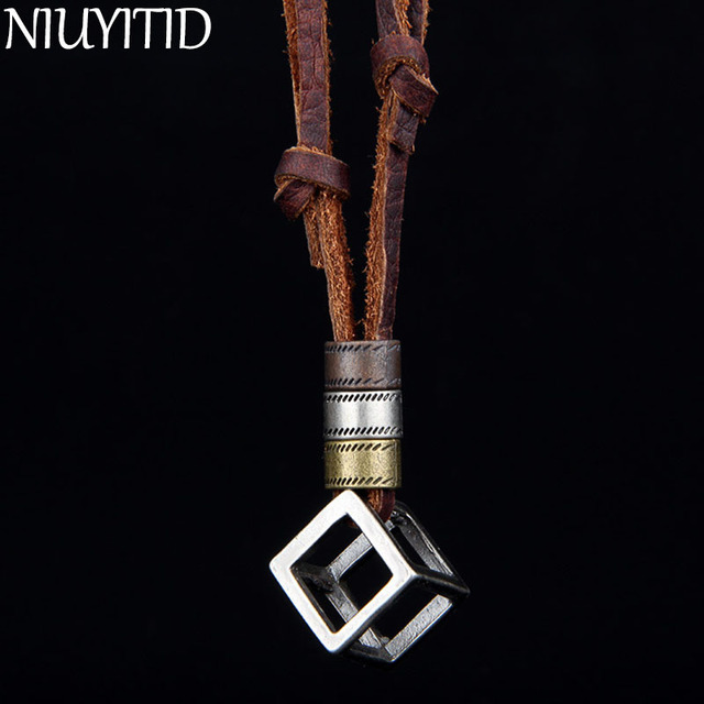 NIUYITID 100% Genuine Leather Men Necklaces Pendants Punk Vintage Adjustable Brown Rope Chain Male Jewelry Mens Jewellery