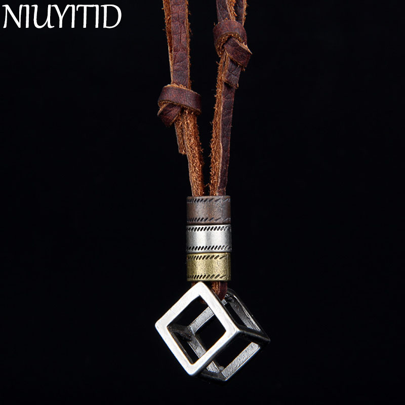 NIUYITID 100% Genuine Leather Men <font><b>Necklaces</b></font> Pendants Punk Vintage Adjustable Brown Rope Chain Male Jewelry Mens Jewellery