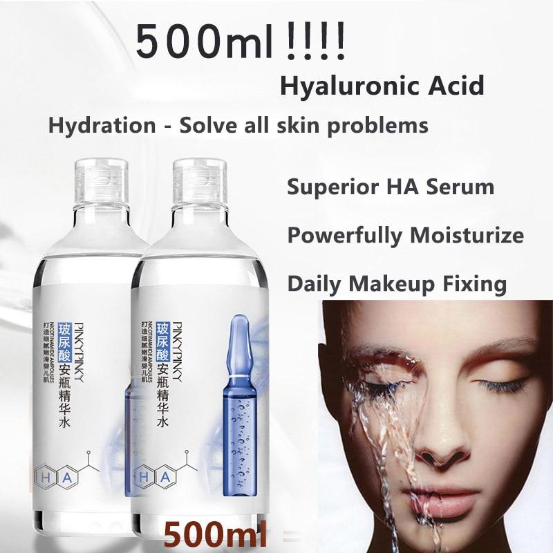 Korean 500ML Hyaluronic Acid Ampoule Bottle Essence Liquid Superior HA Serum(Powerfully Moisturize Skin) Daily Makeup Fixing