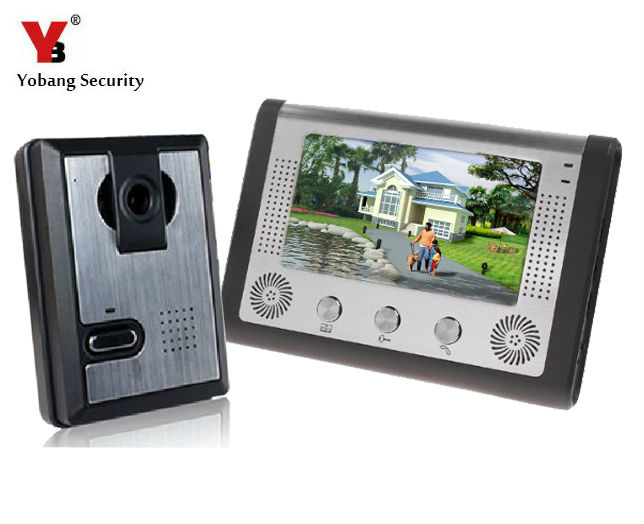 Yobang Security 7 Inch LCD Display Wired Video Door Phone Night Version Intercom System,video doorbell door intercom jeatone 7 inch video door phone doorbell intercom with 600tvl outdoor camera ip65 on door video intercom security system 4 wired