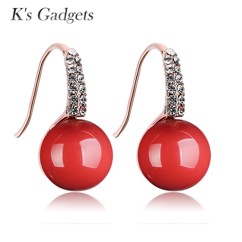 Big Red Earrings Pendientes Rojos Fine Jewelry Rose Gold Color Earrings Artificial Coral Earrings Women CZ Big stone Earring