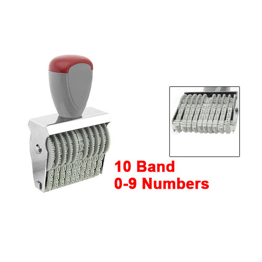 Lovely Office 10 Band 5mm X 3mm Rubber 0-9 Numbers Numbering Stamp Gray Red
