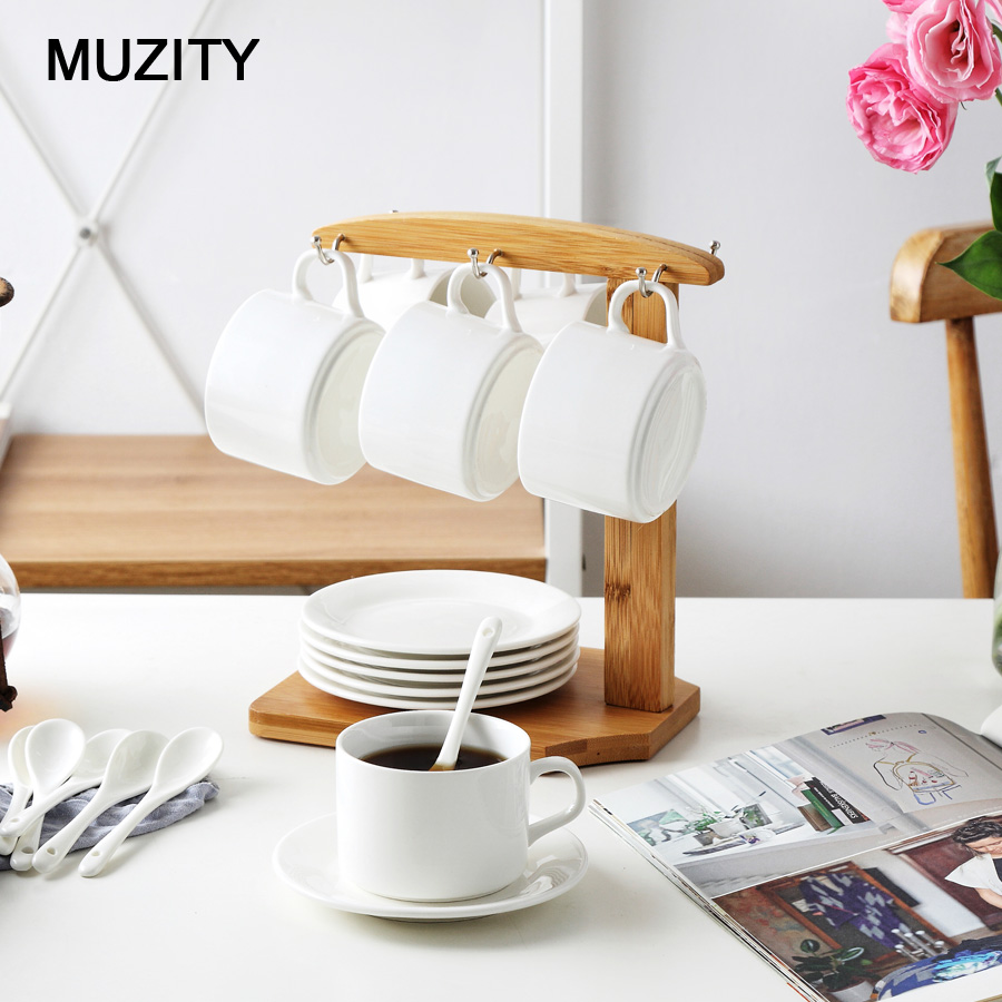 MUZITY Ceramic Tea <font><b>Cups</b></font> ans Saucers White <font><b>Coffee</b></font> <font><b>Cup</b></font> <font><b>Set</b></font> with Bamboo <font><b>Cup</b></font> Holder Simple Design <font><b>Cup</b></font> and Saucer Drinkware image