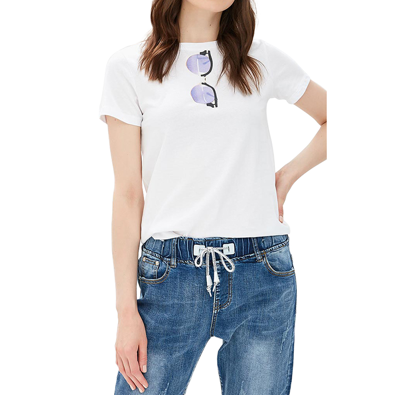 T-Shirts MODIS M181W00666 women shirt cotton for for female TmallFS chic plus size beauty print high low hem t shirt for women