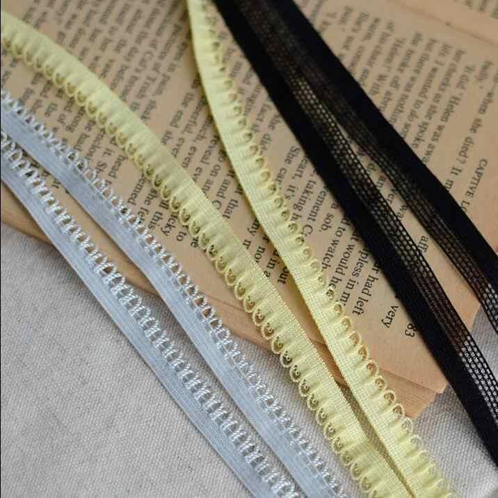 Nieuwe!! 5 Meters/partij 1 cm Breedte Zwart/Grijs/Geel Elastische Stretch Kant Trim Mooie 3 Kleuren Dunne Guipurekant lint