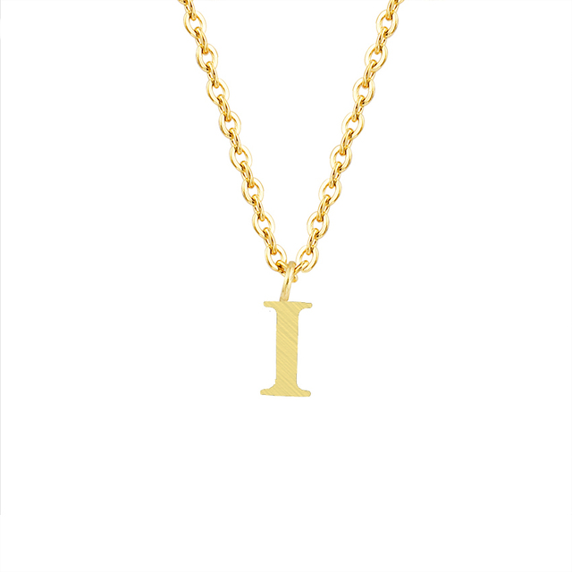 Icftzwe Wedding Band Jewelry Gold Colour Chain Silver Stainless Steel Pendant 26 Initial Letter I Alphabet