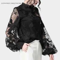 Damen Floral Stickerei Blusen Transparent Laterne Hülse Mesh Tops Stehkragen Lose Plus Größe Frauen Schwarz Chiffon Bluse