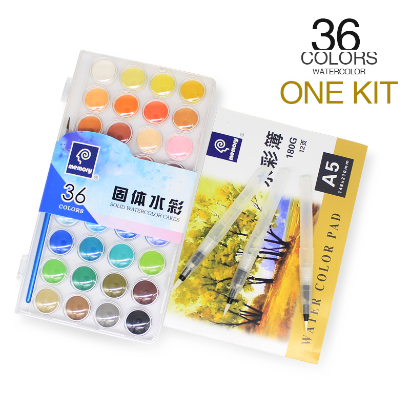 Memory Brand 36Colors Travel Solid Watercolor Paints Set For Kids Art Water Color Cake Kit Plus SketchBook