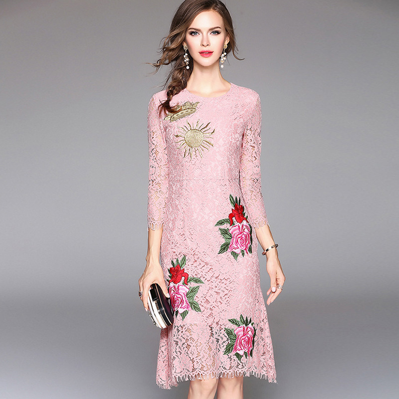 Women's Vintage Embroidery Party Dresses Runway Floral Bohemian Flower Embroidered  Boho Mesh Dresses For Women Vestido